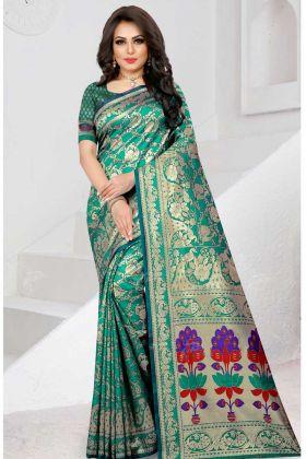 Designer Wedding Two Tone Soft Silk Saree Rama Color
