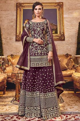 Designer Wine Color Net Fabric Palazzo Dress With Net Dupatta