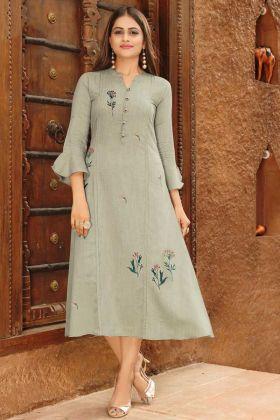 Designer Work Rayon Viscose Fabric Grey Kurti