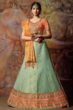 Designer Sea Green Wedding Lehenga