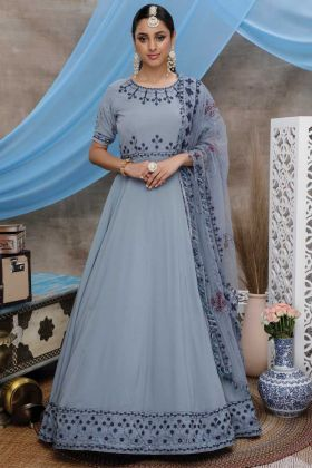 Diamond Georgette Grey Party Wear Gown