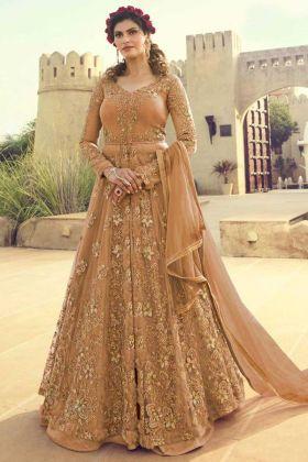 Diamond Work Light Orange Color Net Anarkali Dress