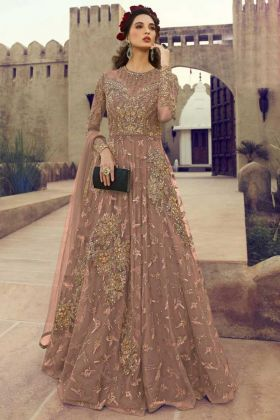 Diamond Work Mauve Color Net Anarkali Salwar Suit
