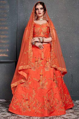 Diamond Work Orange Color Slub Silk Festive Lehenga Choli