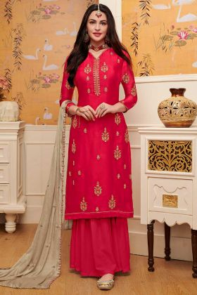 Diamond Work Red Color Satin Georgette Sharara Dress