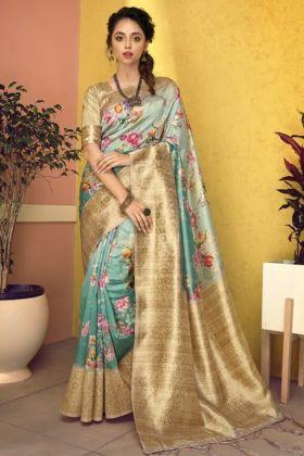 Digital Flower Printed Art Silk Saree In Multi Color