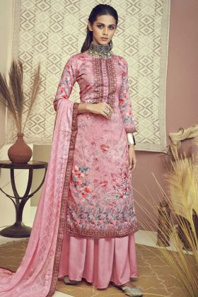 Digital Print Designer Pink Color Cotton Salwar Suit