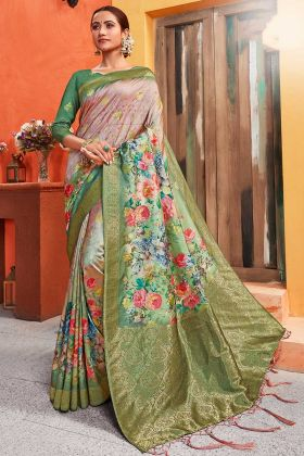 Digital Print Silk Festival Pink And Green Saree