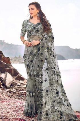 Digital Net Designer Saree Mehendi Color With Cutdana Heavy Work