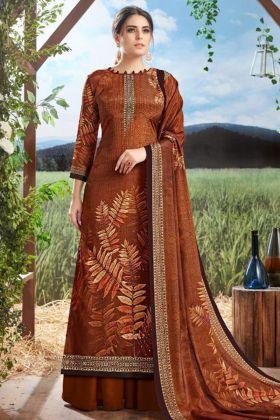 Digital Print Pure Crepe Silk Brown Palazzo Suit