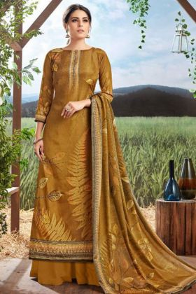 Digital Print Pure Crepe Silk Dark Golden Palazzo Suit
