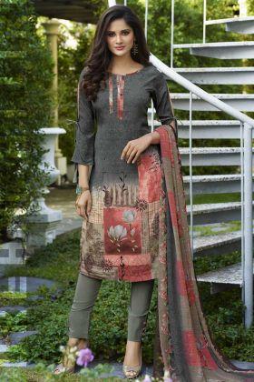 Digital Print Work Crepe Pant Style Salwar Kameez In Grey and Multi Color