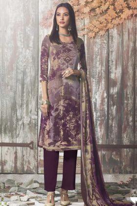 Digital Print Work Pant Style Salwar Kameez In Purple Color