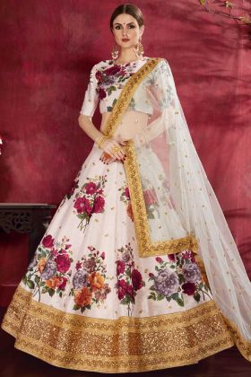 Digital Printed Art Silk Wedding Lehenga Choli In Off White Color
