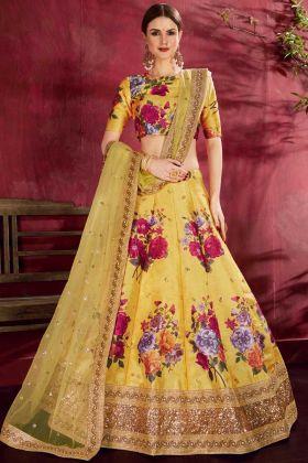 Digital Printed Art Silk Wedding Lehenga Choli Yellow Color For Haldi Rasam