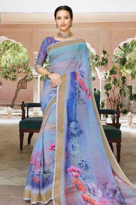 Digital Printed Blue Linen Saree Online