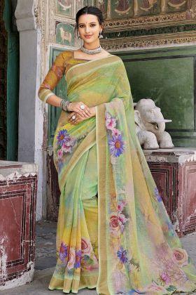 Digital Printed Green Saree