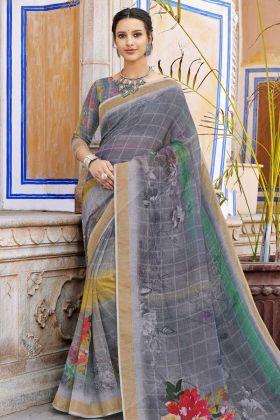 Digital Printed Grey Linen Saree Online