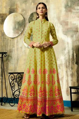 Digital Printed Lemon Yellow Pure Chanderi Party Wear Gown