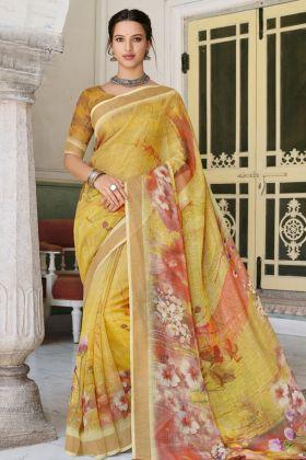 Digital Printed Linen Yellow Saree Online