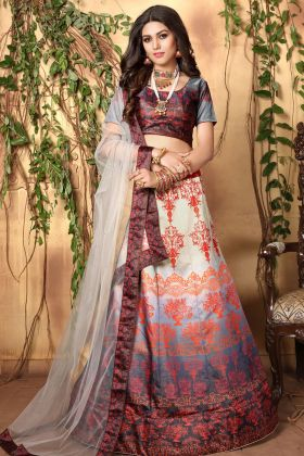 Digital Printed Multicolor Lehenga