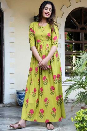 Digital Printed Pure Muslin Designer Gown Green Yellow Color