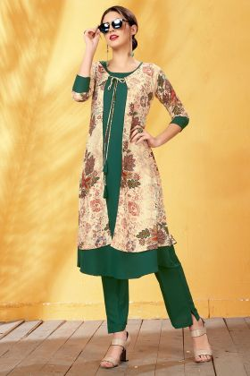 Digital Printed Rayon Green Kurti