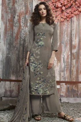 Digital Printed Sand Grey Crepe Palazzo Dress