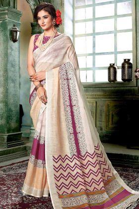 Digital Printed Saree In Cream Linen Cotton