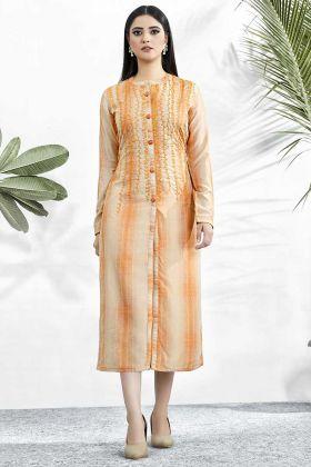 Digital Printed Work Light Orange Color Muslin Designer Kurti