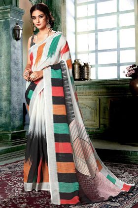 Digital Printed Work Off White and Multi Color Linen Cotton Designer Saree