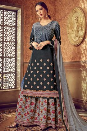 Discharge Digital Printed Work Black Color Pure Cotton Palazzo Salwar Kameez