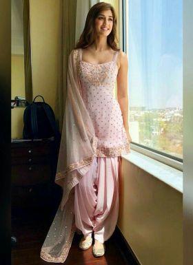 Disha Patani Bollywood Style Baby Pink Dhoti Dress