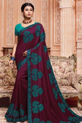 Diwali For Wine Vichitra Silk Festive Saree