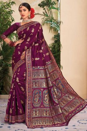 Diwali Latest Collection Wine Jacquard Silk Saree
