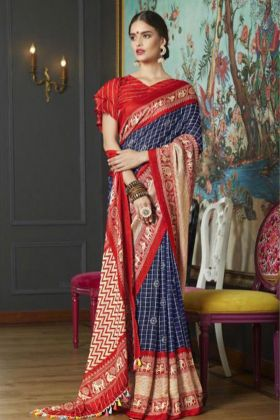 Diwali And Wedding Special Blue Linen Juth Designer Saree