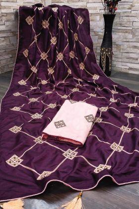 Dola Silk Purple Color Gota Patti Workie Saree With Best Price