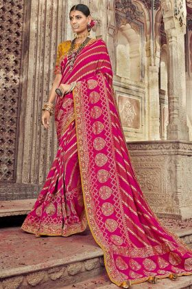 Dola Art Silk Saree Dark Pink Color With Coding Embroidery Work