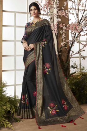 Dola Silk Black Festive Saree