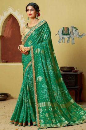 Dola Silk Designer Bandhani Saree Zari Work In Green Color