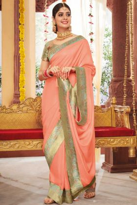 Dola Silk Designer Saree Weaving Work In Peach Color