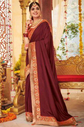 Dola Silk Festival Saree Weaving In Maroon Color
