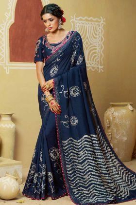 Dola Silk Wedding  Printed Saree Navy Blue Color Thread Embroidery Work