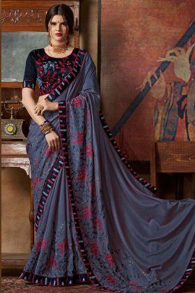 Dolla Georgette Designer Saree Grey Color With Thread Silk Embroidery Work