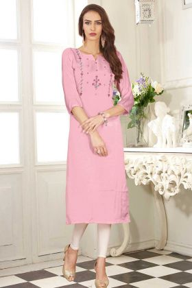 Dolla Silk Fancy Kurti Light Pink Color With Mock Work