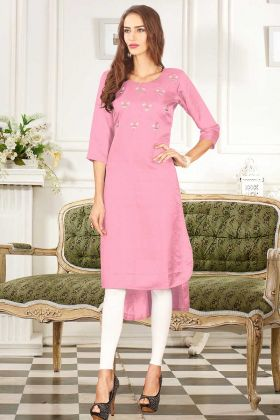 Dolla Silk Kurti Light Pink Color With Embroidery Work