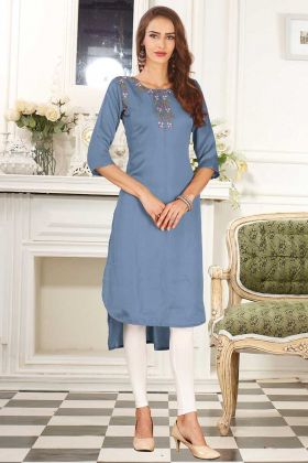 Dolla Silk Party Wear Kurti Light Steel Blue Color With Embroidery Work