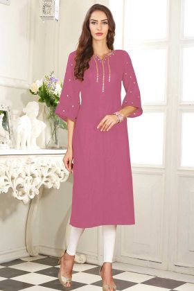 Dolla Silk Stylish Kurti Pink Color With Embroidery Work
