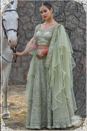 Dori Work Moss Green Color Butterfly Net Wedding Lehenga Choli