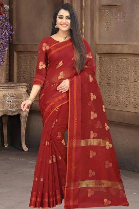 Doriya Cotton Silk Maroon Color Saree With Best Price